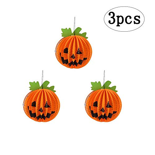 BinaryABC Halloween Paper Lanterns,Thanksgiving Paper Lanterns,Pumpkin Hanging Decoration 3Pcs -