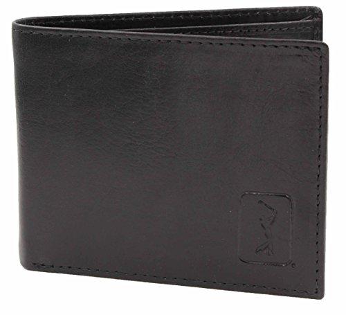 PGA Tour Mens Genuine Leather Bi-Fold Wallet (Black)