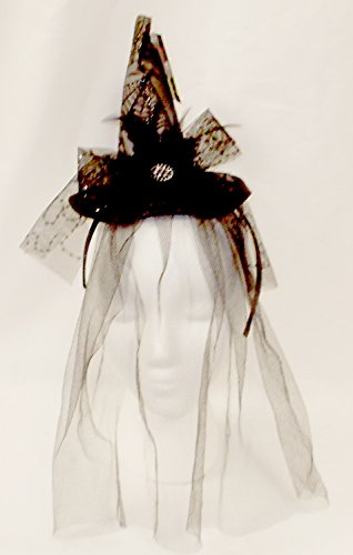Black Witch Hat Glitter Spiderweb Feather Sequin Halloween Headband Costume Accessory NWT (Black Sequin Witch Costume)