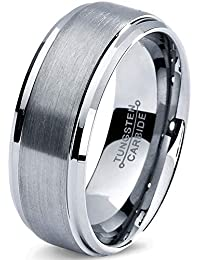 Tungsten Wedding Band Ring 8mm Men Women Comfort Fit Grey Step Bevel Edge Brushed Polished