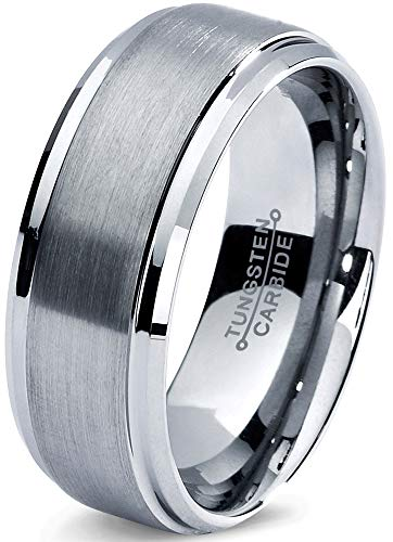 Charming Jewelers Tungsten Wedding Band Ring 8mm Men Women Comfort Fit Grey Step Bevel Edge Brushed Polished Size -