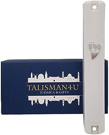 4 Inches - 10 cm TALISMAN4U Waterproof White Mezuzah Case with Scroll Classic Judaica Israel Plastic Door Mezuza Silver Shin