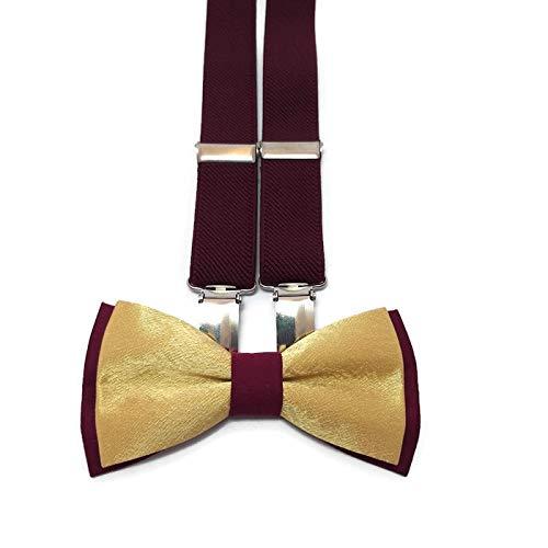 GOLD+BURGUNDY bow tie and GOLDEN Y-back Suspenders Set for ring bearer boys men groomsmen wedding