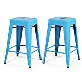 2015 NEW ARRIVAL! Adeco 24-inch Light Blue Glossy Metal Tolix Style Chair Counter Stool, Set of Two