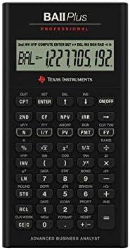 Texas Instruments TI BA II Plus Professional - Calculadora (batería, CR2032, Litio) , Gris [Importado]