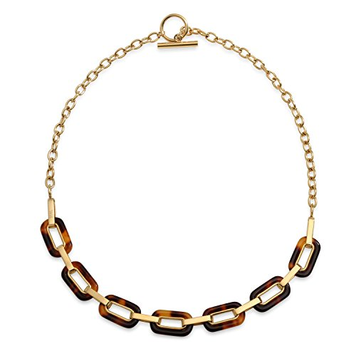 Bling Jewelry Fashion Brown Oval Link Tortoise Shell Collar Necklace for Women for Teen 14K Gold Plated Stainless Steel Toggle Clasp