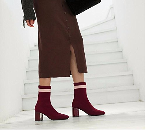 KHSKX-Korean New Knitting Stockings In Winter Boots With Thick Thin Boots With Elastic Child Boots Claret gLdi6