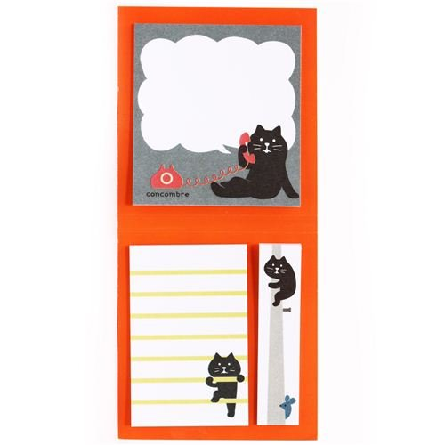 black cat Post-it bookmark stickers sticky notes