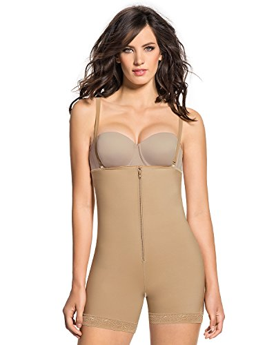 Leonisa Womens Strapless Compression Bodysuit Slimming Shaper Short With Booty Lifter,Beige,Medium - Booty Shapers