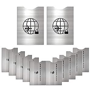 12 Protectores de Bloqueo para Prevenir RFID -ANTI-FRAUDE Fundas para Tarjeta de Crédito, Débito y Tarjeta de Identificación - Protector de Pasaporte ...