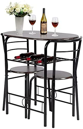 3-Piece Round Table and Chair Set for Kitchen...