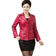 Women Short Slim Lapel Zippers Leather Jacket Plus Size Casual Coat