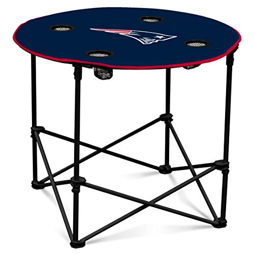 Nfl Tailgate Table - New England Patriots  Collapsible Round Table with 4 Cup Holders and Carry Bag