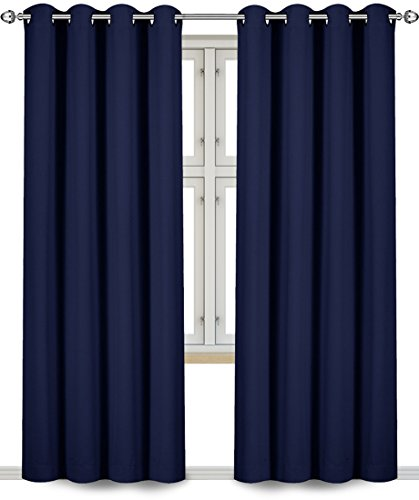Utopia Bedding Blackout Room Darkening and Thermal Insulating Window Curtains/Panels/Drapes - 2 Panels Set - 8 Grommets per Panel - 2 Tie Backs Included (Navy, 52 x 84 with Grommets)