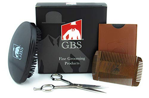 GBS Beard Care Grooming Kit For Men – Professional Beard Scissors, Military Style Brush Oval Wood Black Finish Natural Bristles, Anti Static Dual Action Beard Mustache Comb with Travel Case
