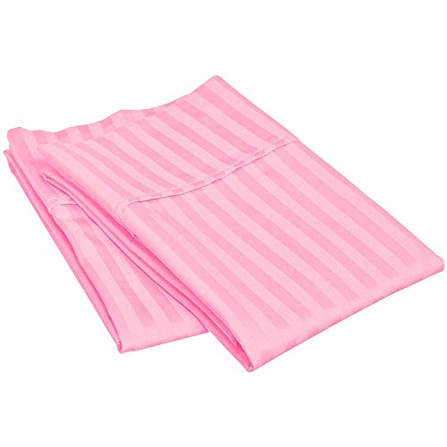 (Waletone 400 Thread Count 100% Cotton Pillow Cases Set of 2 Pink Stripe Standard Size)