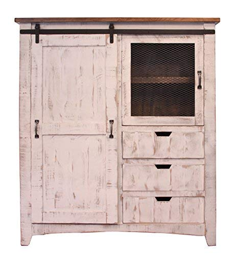 Greenview Rustic White Farmhouse-Style Armoire Gentleman's Chest