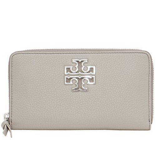 Tory Burch Wallet Zip Around Britten Silver TB Logo Leather (French - Tory Silver Burch