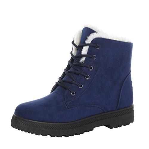 Baymate Casual Winterschuhe Damen Stiefeletten mit Warm Gefüttert Flach Anti Rutsch Sohle Mädchen Schneestiefel Outdoor Boots Blau