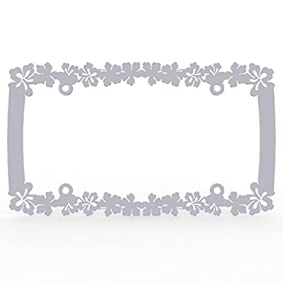 Ferreus Industries White Powdercoat Car Truck License Plate Frame Hawaiian Flower Hawaiian Flower - 1 Piece LIC-108-White: Automotive