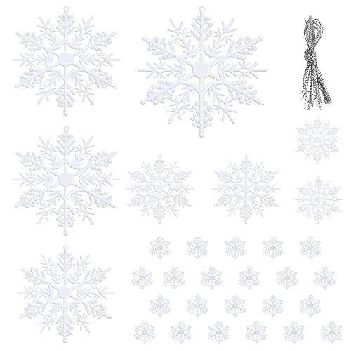 Plastic Snowflakes Bulk (Auihiay 60 Pieces Plastic White Snowflakes Ornaments for Christmas Decoration, Assorted 6 Sizes (1, 2, 3, 4, 5, 6)