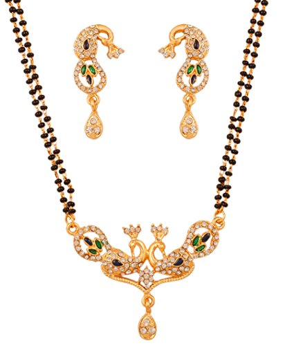 Touchstone gold tone Indian bollywood ethnic peacock minakari diamante mangalsutra necklace set jewelry for women