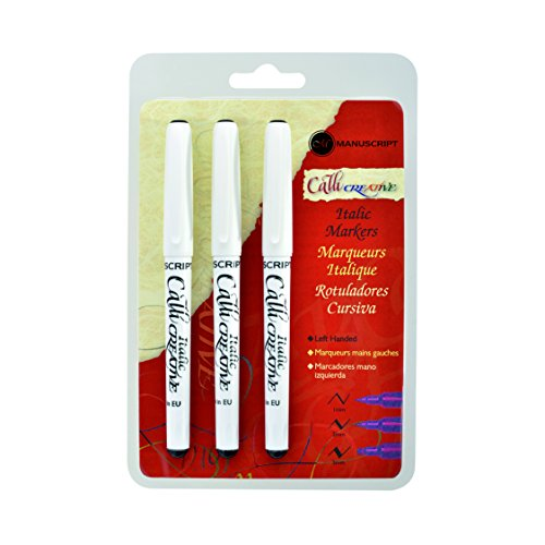 Manuscript Pen Calli Creative Markers Left, Hand Assorted, Black, 3-Pack