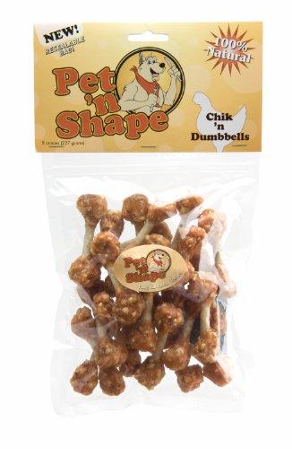 Pet 'n Shape Chik 'n Rice Dumbbells Natural Dog Treats, 8-Ounce - Rawhide Bone Shape