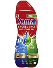 Somat Excellence Duo Power Dishwasher Gel (33 Washes / 600mL), Fast Dissolving Dishwashing Liquid for Clean Dishes, Zero Residue Dishwasher Detergent, Original