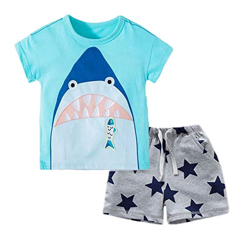 BIBNice Baby Boys Cotton Clothing T-Shirt Plaid Shorts Sets Shark 2t