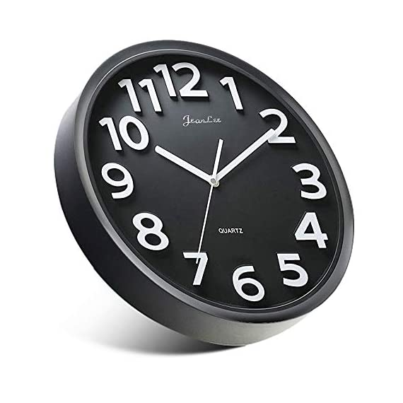 Gkwet 12 inches Silent Non Ticking Large Wall Clocks Decorative Indoor Kitchen Clock 3D Numbers Display Round Easy to Read,Battery Operated Wall Clocks (Black) - 12 inch basic dial quartz wall clock, non ticking, quiet sweep second hand ensure a good sleeping and work environment. Perfect for home, office or classroom - any place accurate timekeeping is needed. Large and clear 3D intuitive numeric indicator at every hour and minute tracker make it easy to see from any corner of your room. Unlike other using cardboard as clock background that easy damaged in moisture and wet season, this clock back base are made of solid plastic, therefore remain well function and dry in any weather condition. - wall-clocks, living-room-decor, living-room - 41ALJwjtjIL. SS570  -