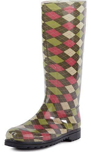 Mujer cuadrados rombo Verde Ladeheid Zapatos Botas Seguridad Agua De Labn112 zzgWA