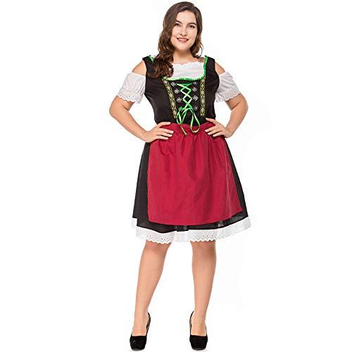 Oversized Womens Beer Maid German Oktoberfest Carnaval Halloween Costumes for Women Dress Adult Plus Size -