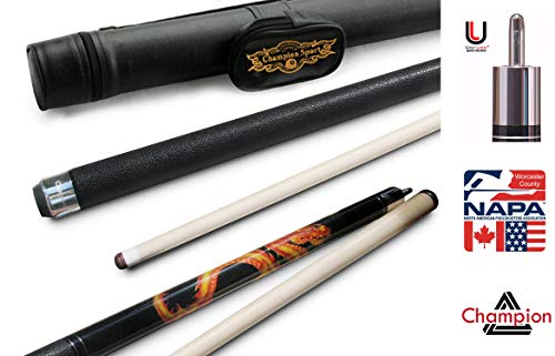 Champion Dragon Pool Cue Stick with Predator Uniloc Joint, Low Deflection Shaft, Black Case (20 oz, 11.75 mm)