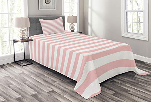 Lunarable Blush Bedspread Set Twin Size, Retro Style Pastel Colored Pink Stripes on White Background Vintage Geometric Design, Decorative Quilted 2 Piece Coverlet Set with Pillow Sham, White Rose ()