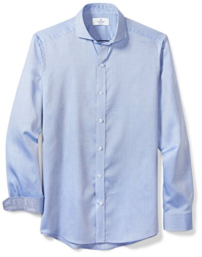 Cutaway Collar Fitted Shirt - BUTTONED DOWN Men's Fitted Supima Cotton Cutaway-Collar Dress Casual Shirt, Blue Washed Oxford, L 36/37
