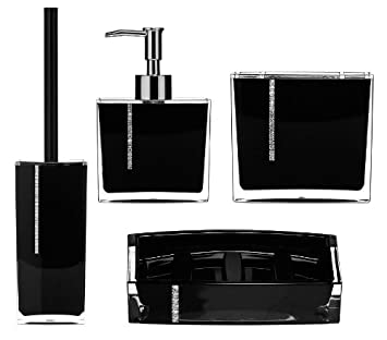 amazing set of four 4 piece black acrylic bathroom accessories with crystals - Black Bathroom Accessories Uk