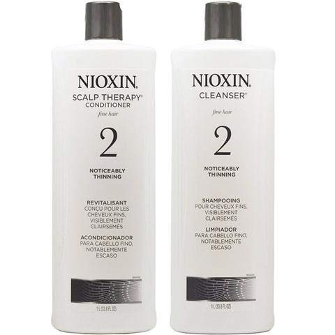 Nioxin Hair System 2 Cleanser & Scalp Therapy Liter (33.8oz) Duo for Thinning Hair (System 2)