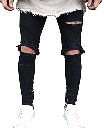 Regolare Classiche Strappati Con Vestibilità Nero Jeans Skinny Da Destrutturati Pantaloni Uomo Denim Ragazzi cnSwRagqYw