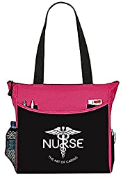 Nurse The Art Of Caring Caduceus Tote Bag Office School Travel Business Personal Organizer - Black & Pink