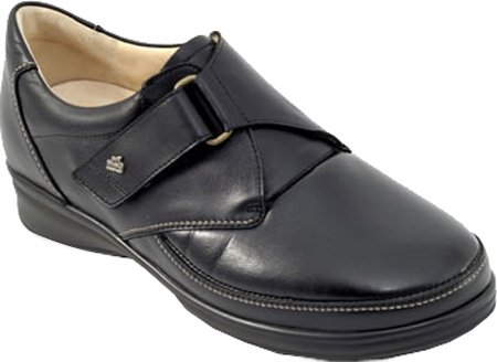Finn Comfort Women's Alkmaar Slip-On Loafer,Black Nappa/Stretch,7 M US/ 4.5 UK