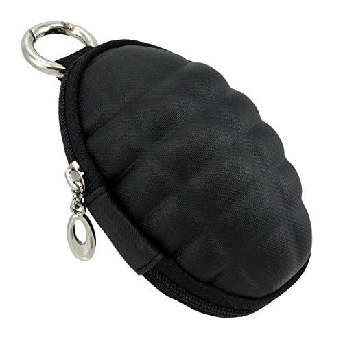 Black Vinyl Grenade Coin Purse Keychain with Round