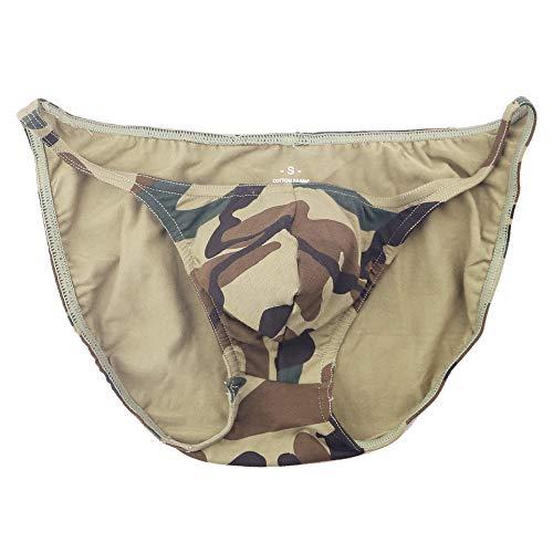 869b3bbec8fb MUSCLE ALIVE Men's Briefs 1 Pack Soft Bulge Bikini Sexy Thong Underwear  Size 2XL Camo Color