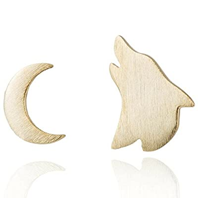Cheap Wolf Earrings: Gold Stud Wolf and Moon Earring Set, Unique Accessories for Women