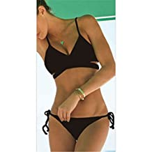 Black Wrap Bikini Top Criss Cross Bandage Swimwear Hot Sell Bathing Suits Sexy Push Up Bikini Vintage