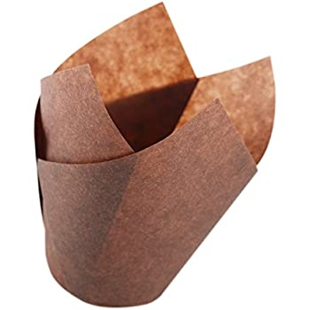 Tulip Cupcake Liners - Brown for Standard Size Cupcakes and Muffins - 120 Pieces per Box - Perfect for Extra Toppings on a Cupcake