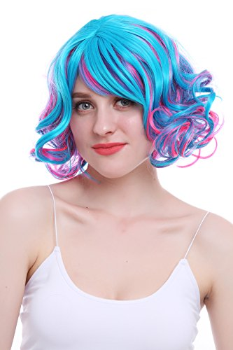 Nuoqi Womens Vintage Wig Short Bobo Neat Bang Curly Cosplay Hair Wig