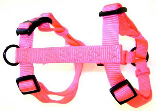 "Hamilton Adjustable Comfort Nylon Dog Harness, Hot Pink, 5/8"" x 12-20"""