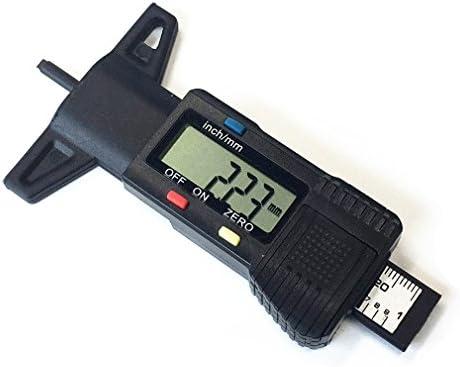Qiorange Reifenprofilmesser Profiltiefenmesser Digital Profilmesser Reifen Profil Tiefenmesser 0-25.4mm LCD-Display (Schwarz)