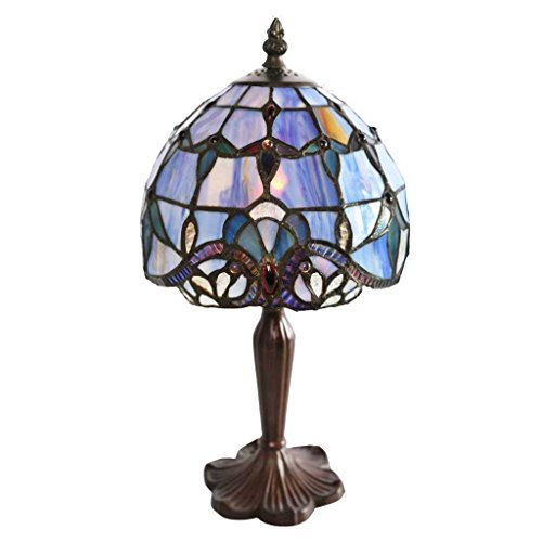 "14"" H Stained Glass Blue Allistar Accent Table Lamp"